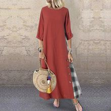 Vintage vestido de retazos vestido de verano a cuadros otoño 2020 ZANZEA Casual manga larga Maxi Vestidos femeninos botón largo bata 5XL