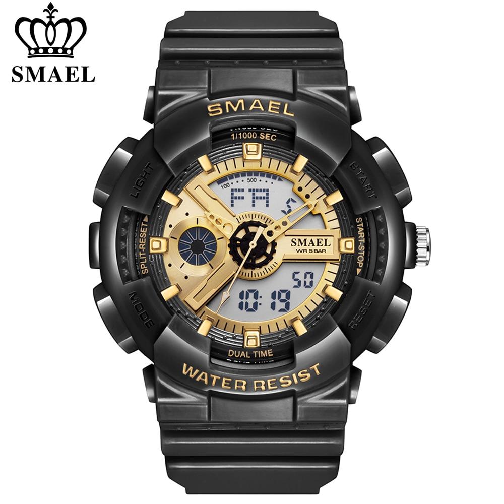 SMAEL Watches for Men Led Digital Quartz Wirstwatch Gold Black Fashion Military Watches Week Reloj Hombre Male Sport Clock