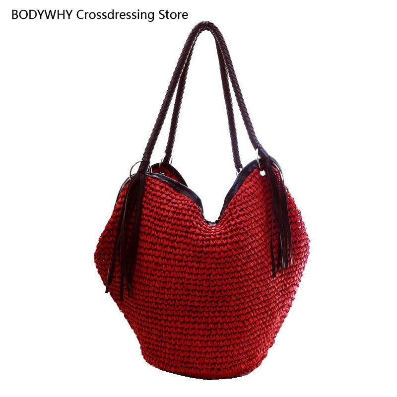 dusun summer bucket bag hand woven hollow out mesh shoulder handbag shopping bag vintage knitting large capacity women beach bag Korean Fringed Straw Bag Shoulder Bag Fashion Casual Woven Bag Large Capacity Beach Bag Vacation Bucket Bag Female Bag