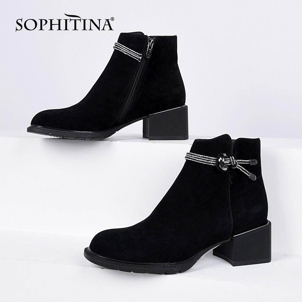 Женские замшевые ботинки SOPHITINA, заостренный носок, укороченный плюш, на молнии, кожаные сапоги, K276, весна-осень
