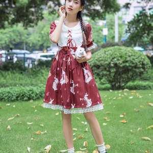 Japanese Lolita Dress Women Kawaii 2021 Summer Soft Sister Wind Sweet Puff Sleeve Lolita Dress Goth Gown Fairy Dress Cute
