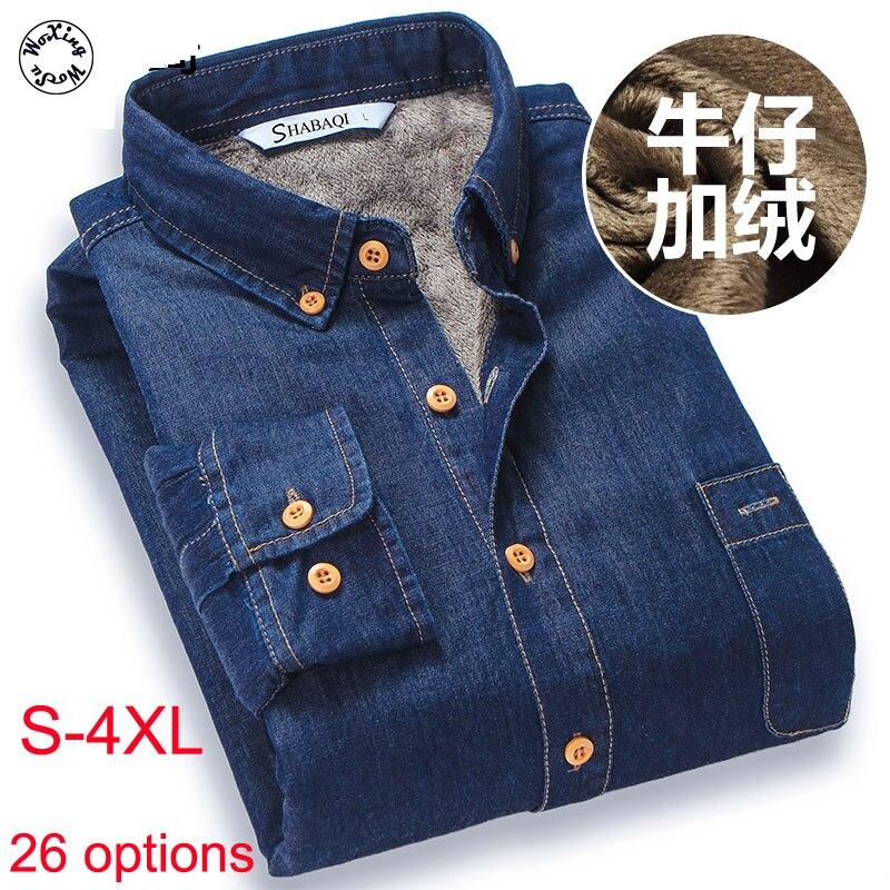 Woxingwosu Мужская футболка из натурального хлопка с джинсовая теплая рубашка большого размера Длинные рукава тонкая мужская рубашка из плотно...