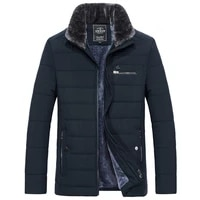 mens warm jacket winter parka fur collar windbreaker cotton padded anorak thick black coat male casual autumn fleece jacket men