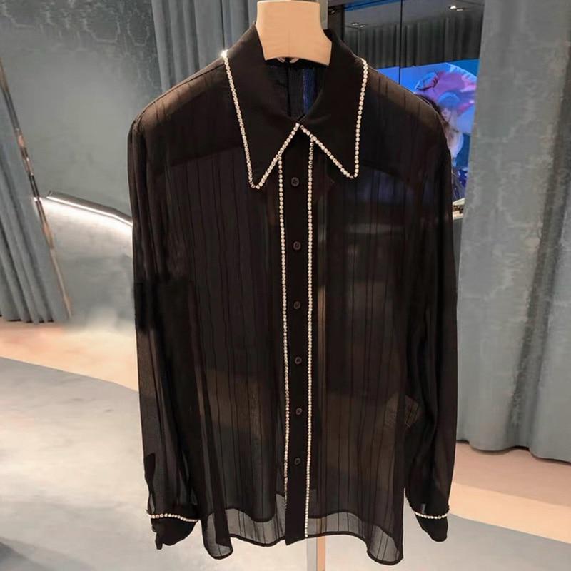Designer de camisas de luxo para mulher turn down collar diamante plissado chiffon camisa preta