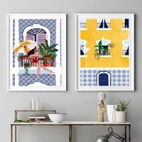 brightly colored plant girl canvas painting nordic morocco building poster wall art woman travel picture for living room decor
