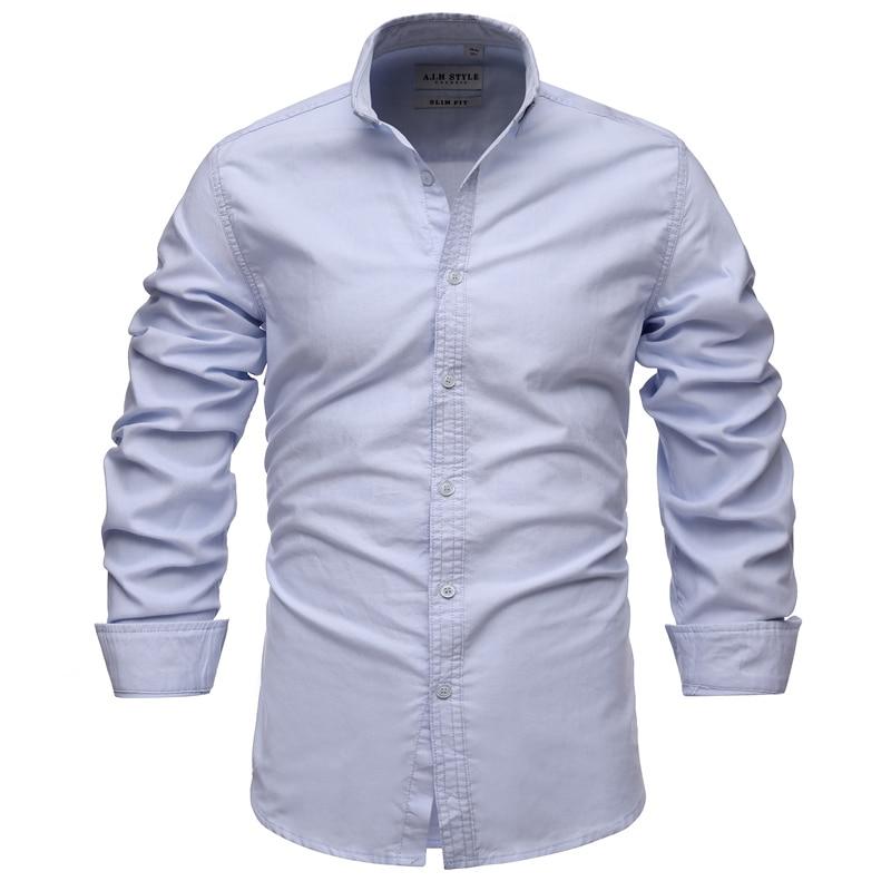 2021 Новая летняя хлопковая рубашка «Оксфорд» для мужчин на весну повседневные мужские рубашки с длинным рукавом Slim Fit рубашки мужские социал...