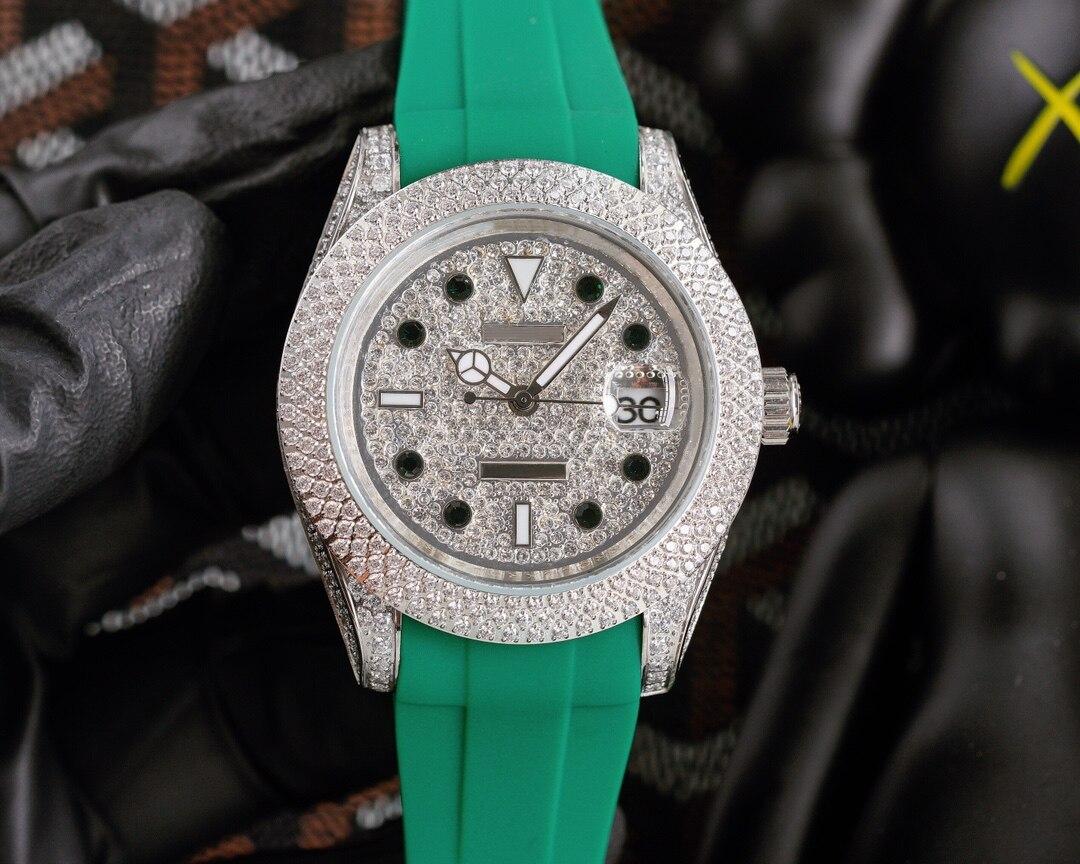 ساعة رجالي ماسية 40 مللي متر آلية إسكان الساعة من الفولاذ المقاوم للصدأ ساعة بحزام مطّاطي ساعة متعددة الوظائف