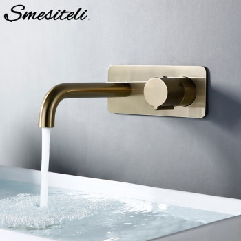 Smesiteli Bathroom Vanity Sink Faucet With Cover Plate Hot And Cold Wall-Mount Mixer Tap In Brushed Gold Taps With Knob