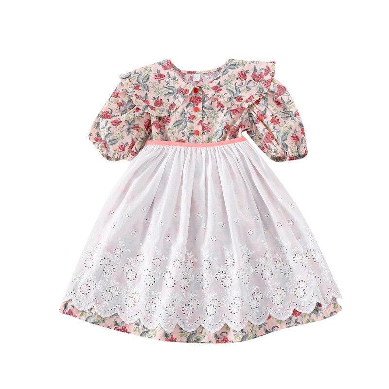 2020 coreanos para chica vestido de princesa novedad de verano flores impreso vestido + encaje falda niña ropa conjunto niños vestido de fiesta