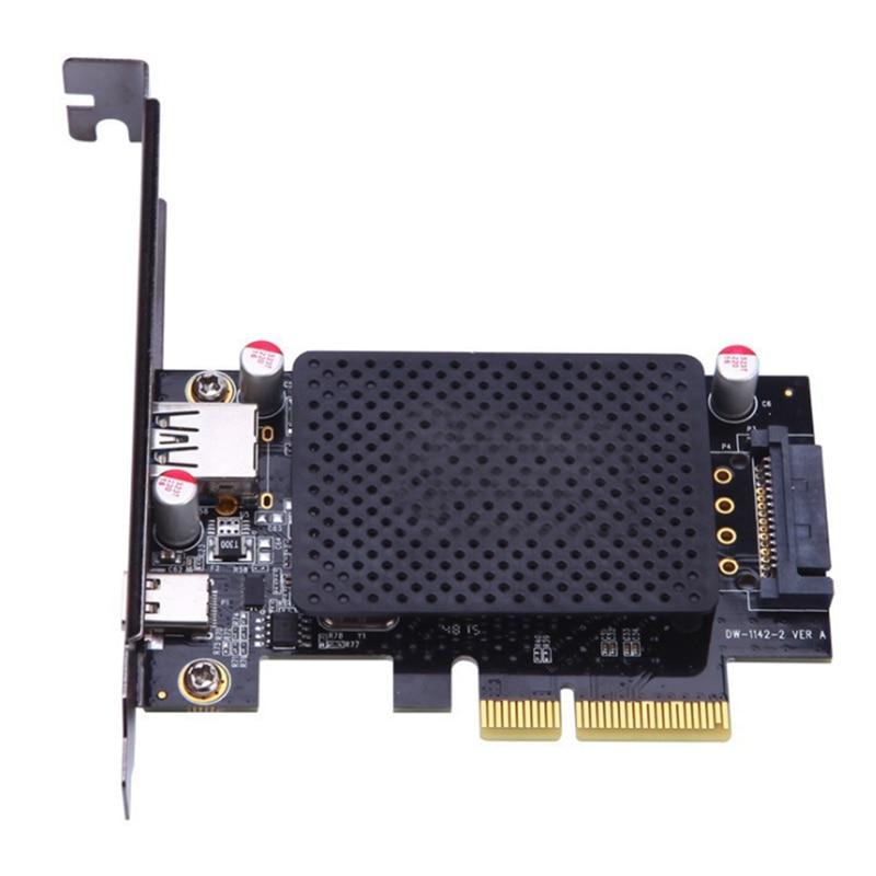 USB3.1-A + C بطاقة التوسع PCI-E 10G محول بطاقة سطح المكتب نوع-A + C واجهة بطاقة محول