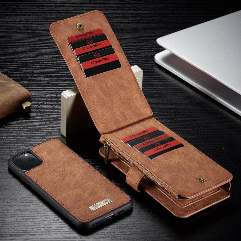 Para o iphone 11 pro max caso carteira de luxo zíper flip capa de couro para o iphone 6 7 8 plus 5 se xs max xr x xs ímã telefone casos