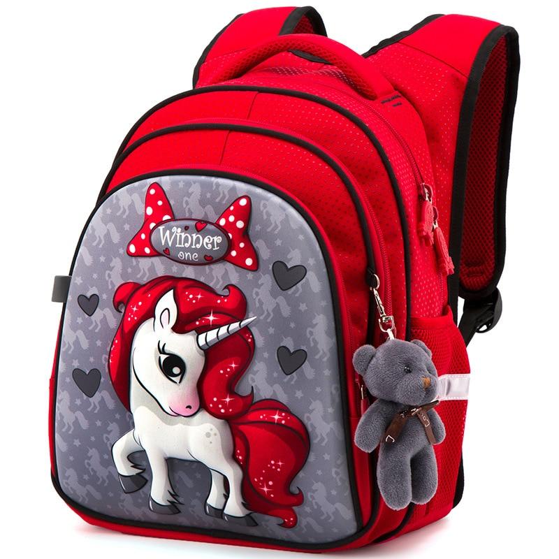 حقائب مدرسية ثلاثية الأبعاد على شكل حصان للأطفال ، حقيبة ظهر مدرسية للبنات ، خفيفة الوزن ، مقاومة للماء ، للمدرسة الابتدائية