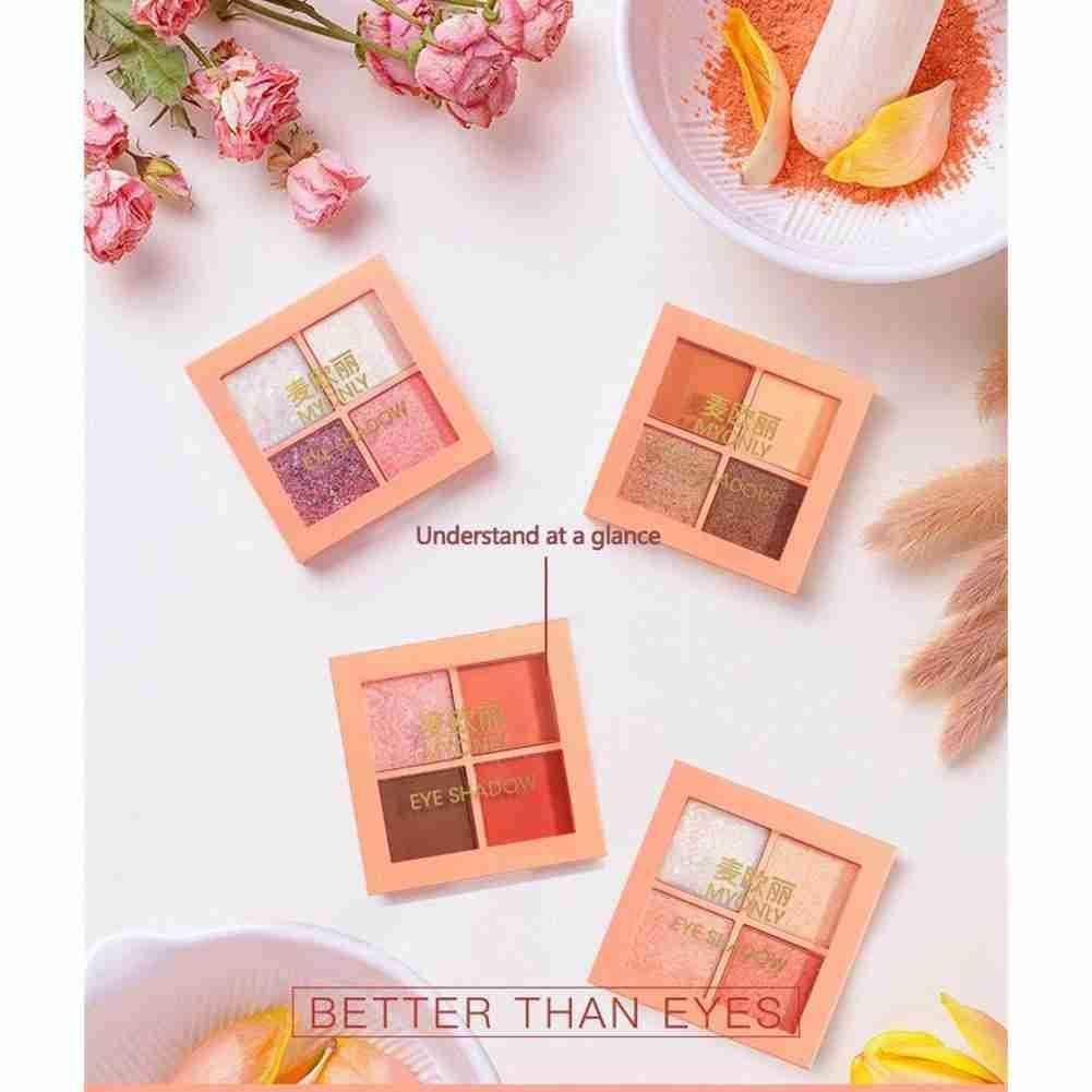 2021 NEW 4 Color Pigment Makeup Palette Glitter Eyeshadow Women Cosmetics Eyeshadow Palette Eye Beau