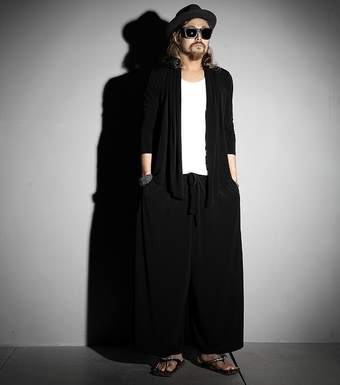 Trendy Men's Casual Skirt Pants Big Bell Pants Wide Leg Pants Large Size Wide Leg Men's Nine-point Pants Fashion Loose Summer Th