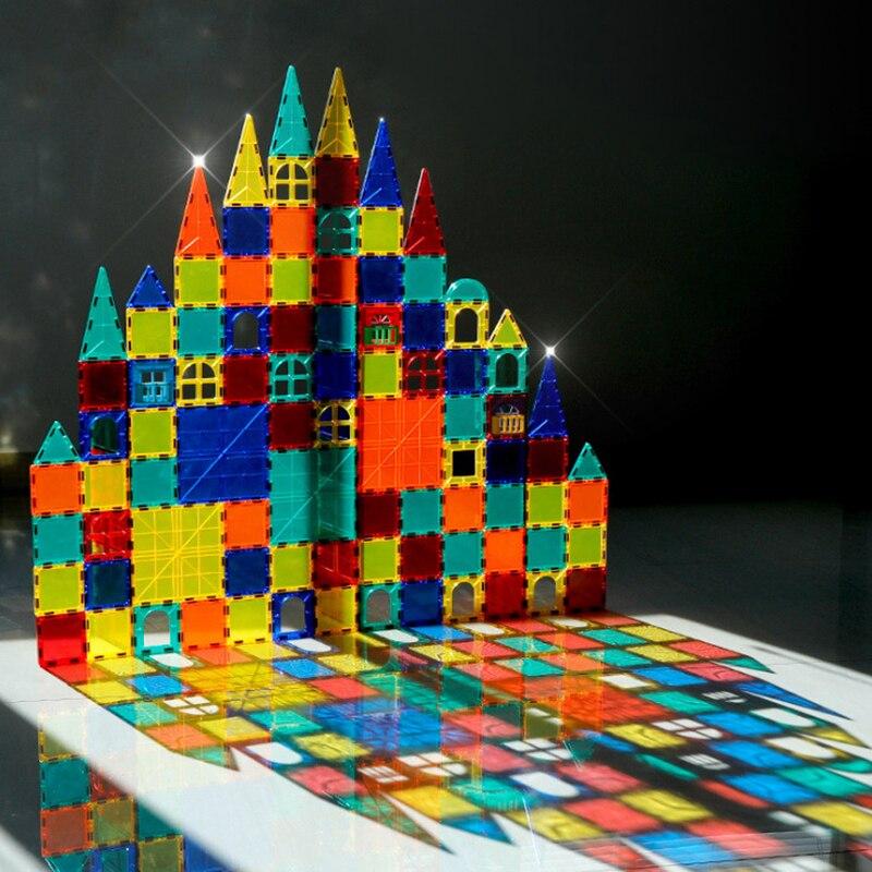 Цветные оконные магниты, 1 шт., большой размер, DIY игрушка, детские развивающие игрушки, пластиковые креативные кирпичи, светящиеся магнитные...