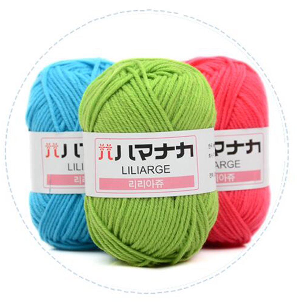 4 Shares Milk Cotton Yarn Fine Quality Hand-Knitting Thread Soft Warm DIY Cotton Threads Baby Wool f