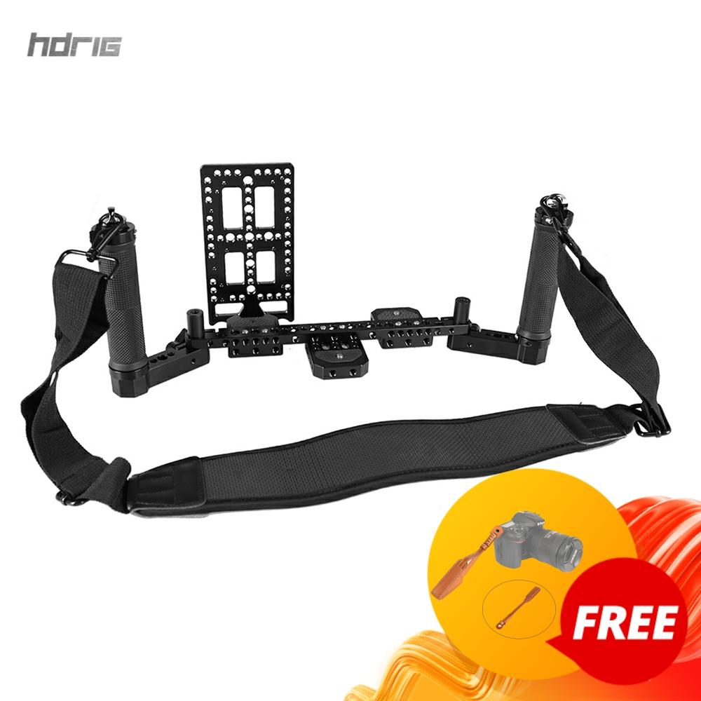 HDRIG Director's Monitor Supporting Rig With Dual Rubber Handgrip Neck Shoulder Strap Battery Plate Photography Accessories