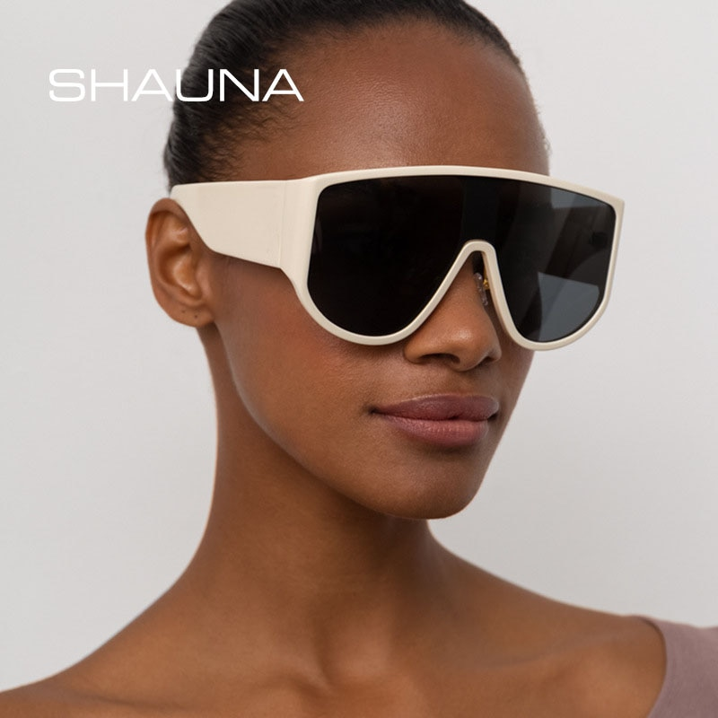 SHAUNA Oversized Goggle Sunglasses Women Brand Designer Fashion One-Piece Lens Men Shield Shades Sun