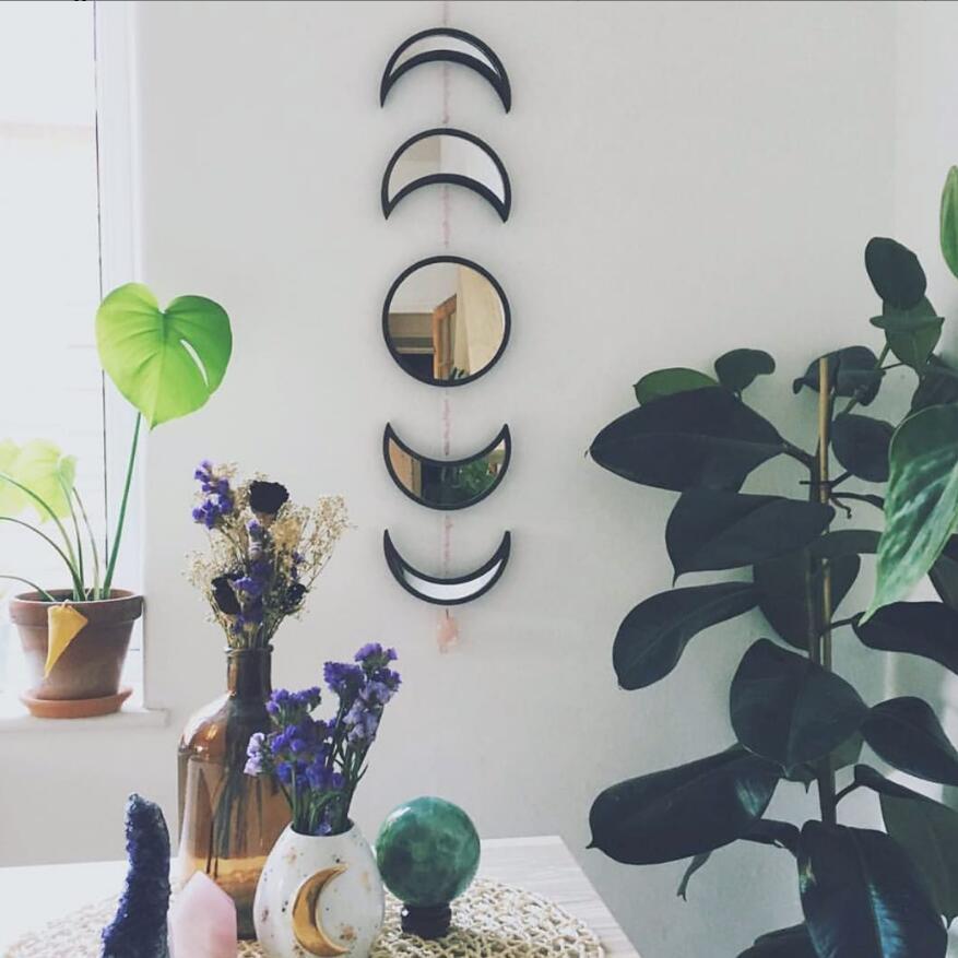 Juego de espejo 3D de fase lunar, pegatina de pared de madera para niños, habitación de casa, Hotel, habitación de noche, decoración DIY de estilo bohemio, diseño para el hogar
