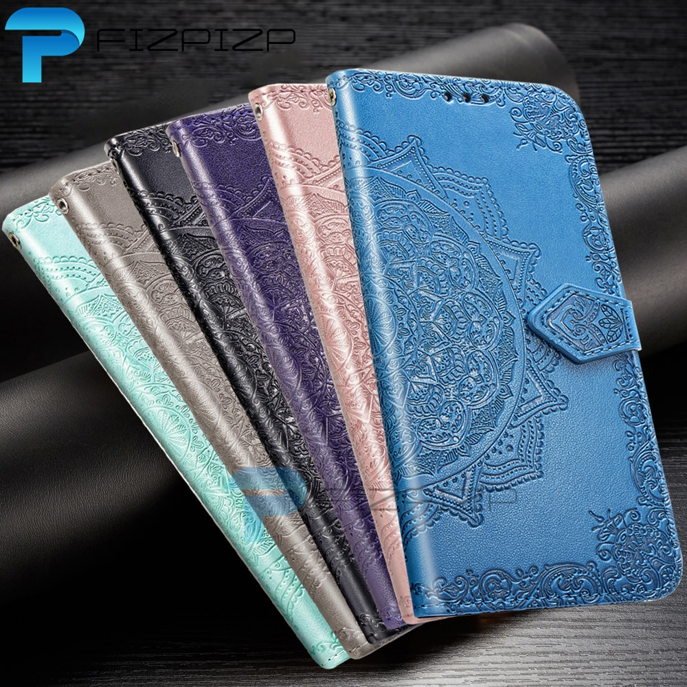 Soporte de cuero de PU Flip funda billetera con soporte para iPhone 11 Pro Max X XS X XR 7 7 Plus 6 6s Plus 5 5s SE 10 de la cubierta completa patrón de Mandala