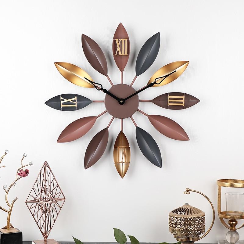 [HHT] Nordic Fashion Iron Leaf Wall Clock Home Living Room Decoration Bar Wall Hanging Decor Modern Rome Mute Clocks