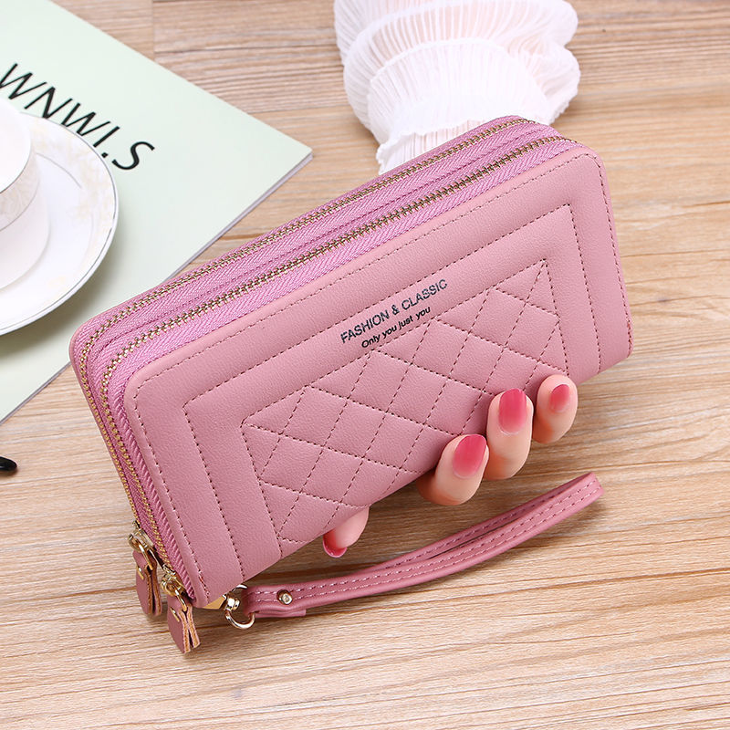 Double Zipper Long Wallet for Women Large High Capacity Quality Pu Leather Wallets Clutch Money Bag