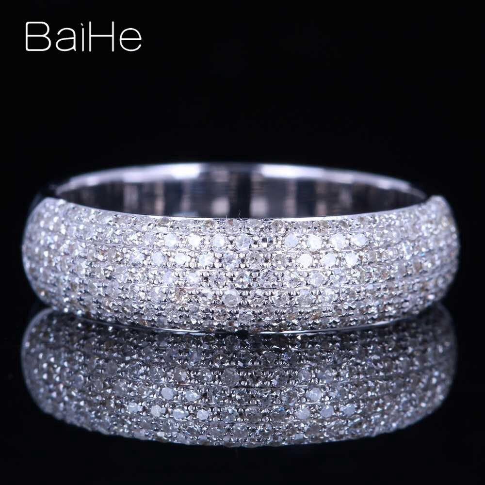 BAIHE الصلبة 14K الذهب الأبيض 0.55CT H/SI جولة الماس الطبيعي مجوهرات غرامة الزفاف العصرية النساء هدية خاتم الماس