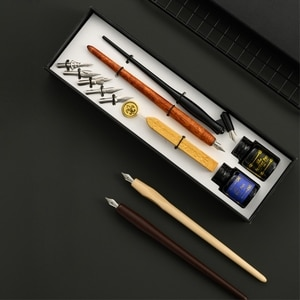 Vintage Dip Pen Fountain Writing Ink 5 Nibs Wax Seal Stamp Gift Box Calligraphy Stationery School Supplies
