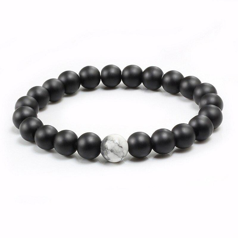 Pulseras a distancia de pareja, brazaletes de cuentas de Yin Yang blanco y negro, pulsera de piedra mate Natural para hombre y mujer, joyería de hilo de Yoga para hombre