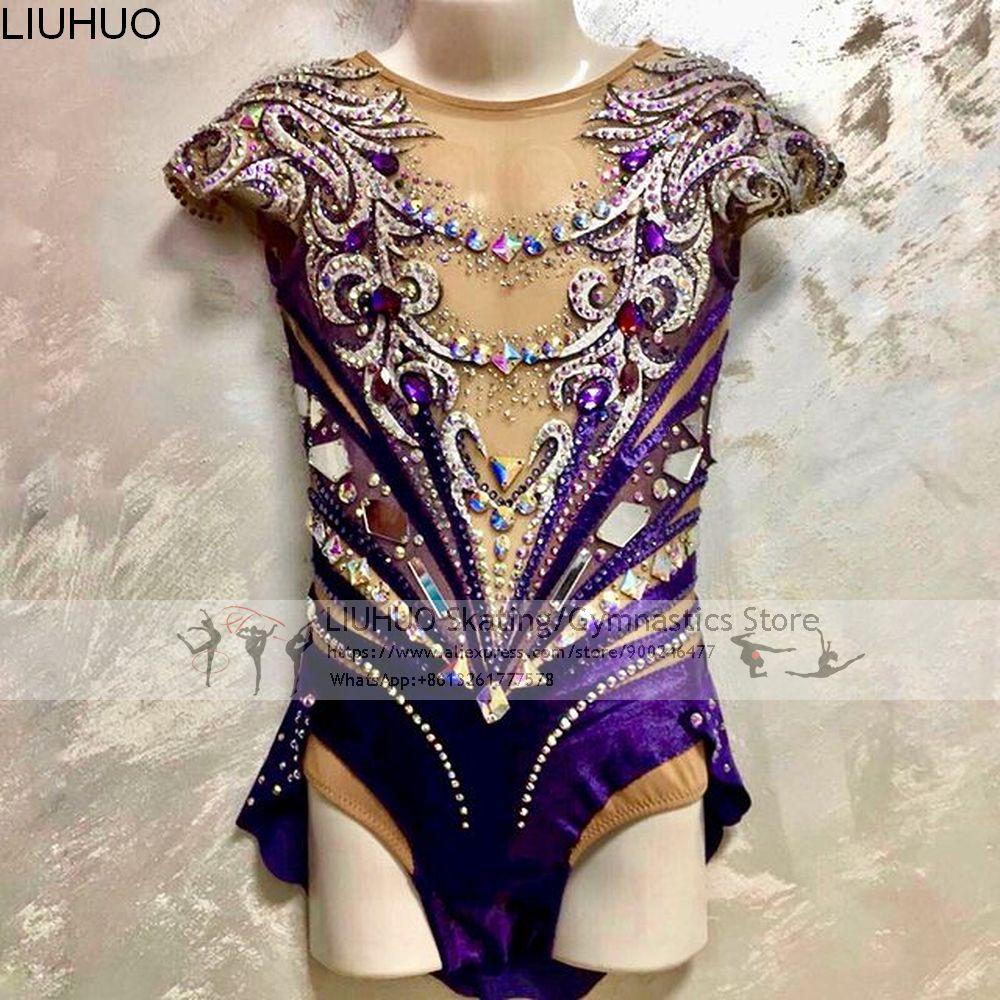 LIUHUO الجليد الشكل التزلج على الجليد فستان الفتيات الأرجواني المنافسة ملابس رقص المراهقين الجمباز الإيقاعي ثياب أنثى Dancewear
