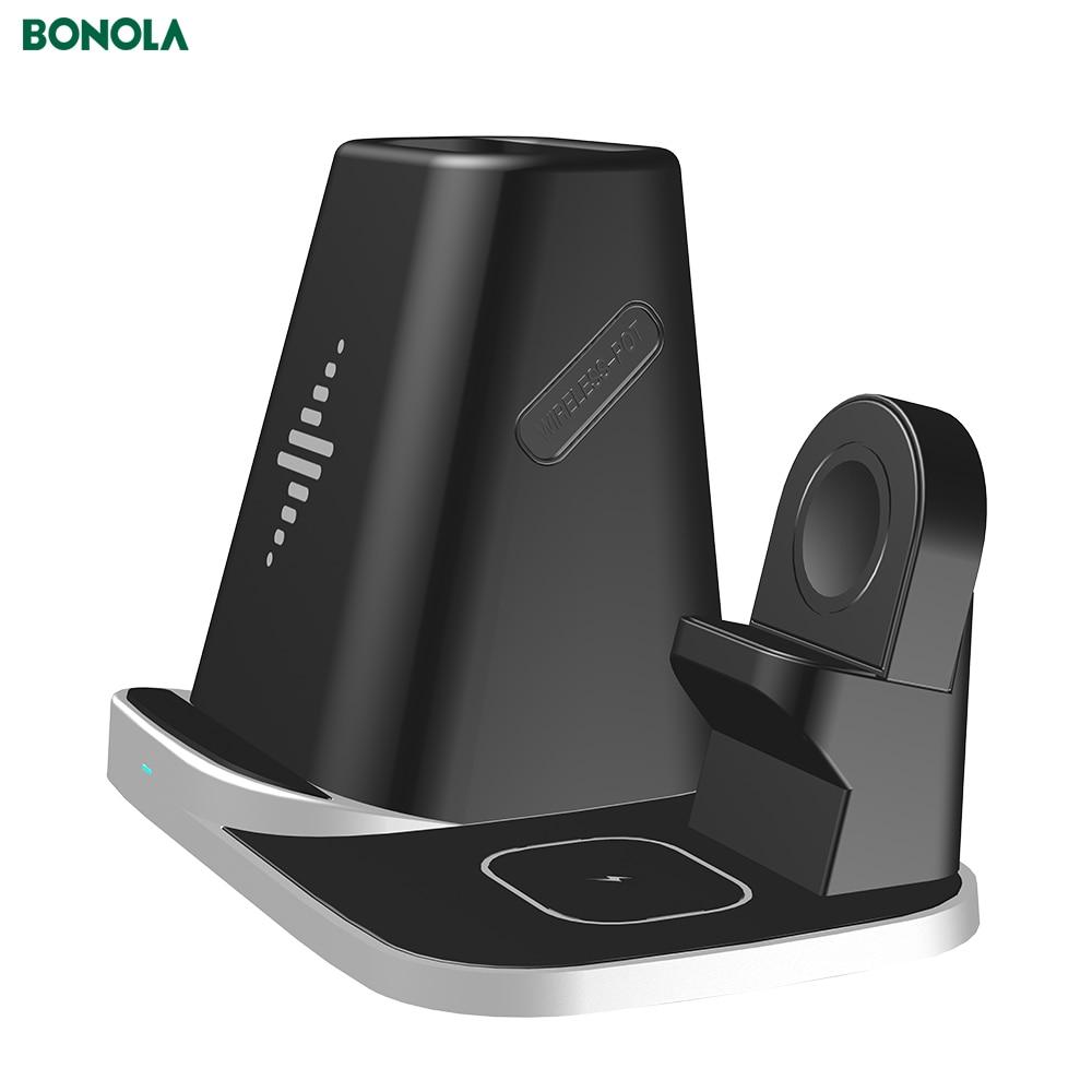 Bonola-soporte para cargador inalámbrico 4 en 1, para iPhone11/XS/iWatch5/AirPods Pro, soporte para bolígrafo Modular inalámbrico USB Apple5/4, cargador para reloj