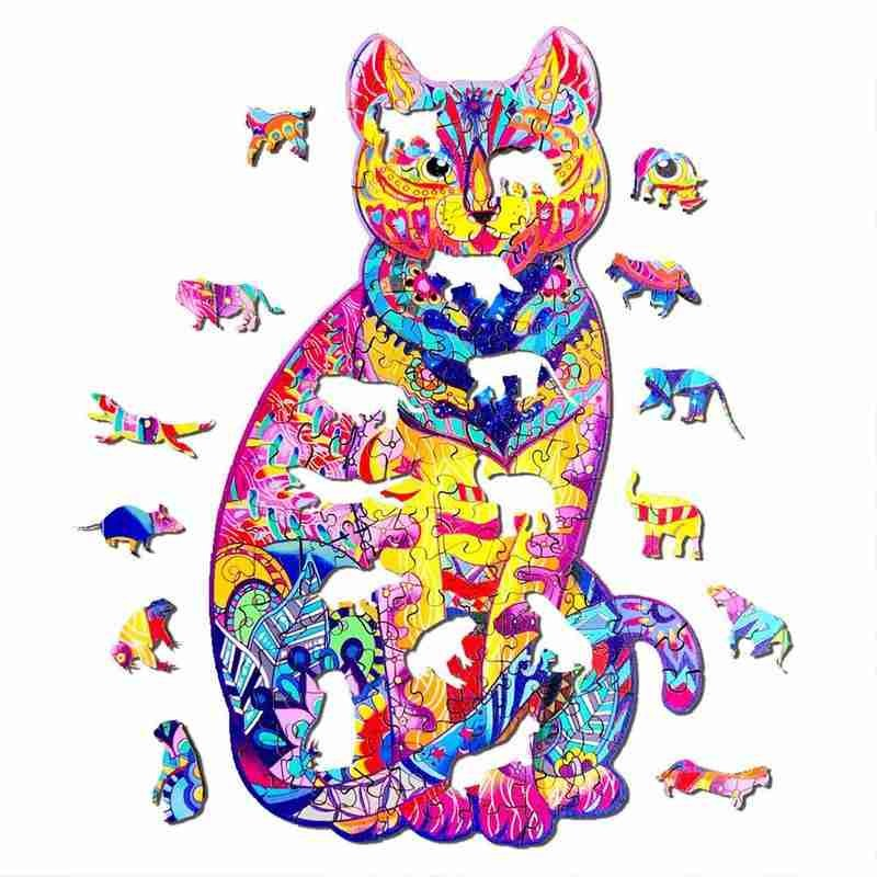 Пазлы с изображением кота, пазлы в форме животных, деревянные пазлы с изображением животных для детей и взрослых, подарки