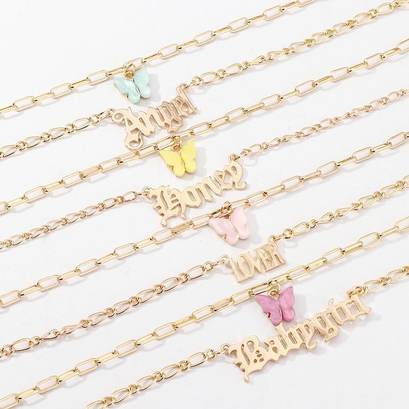 Популярное модное многослойное ожерелье с акриловой бабочкой для девочек, Двухслойное ожерелье с буквенным алфавитом и ангелом, ювелирные изделия для женщин