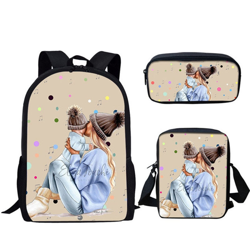 NOISYDESIGNS Cartoon Super Mom&Baby Printed Children Backpack Large Capacity 3pcs/set Kids School Bag for Primary High School