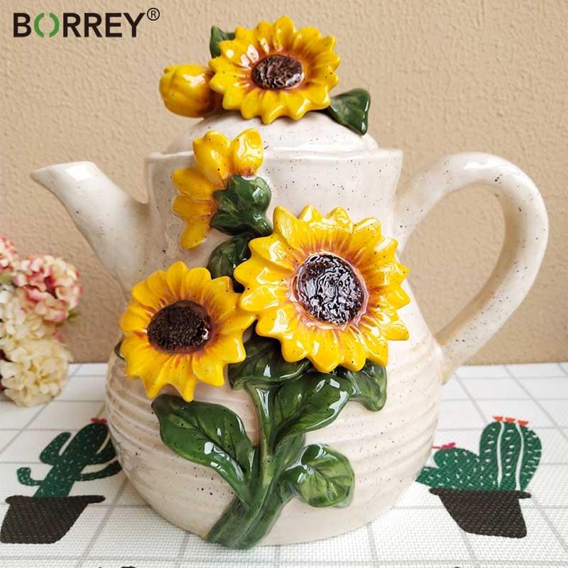 Pote de Chá Decoração para Casa Borrey Upscale Cerâmica Café Estilo Europeu 3d Sol Flor Arte Ceramicware Aniversário Presentes Casamento