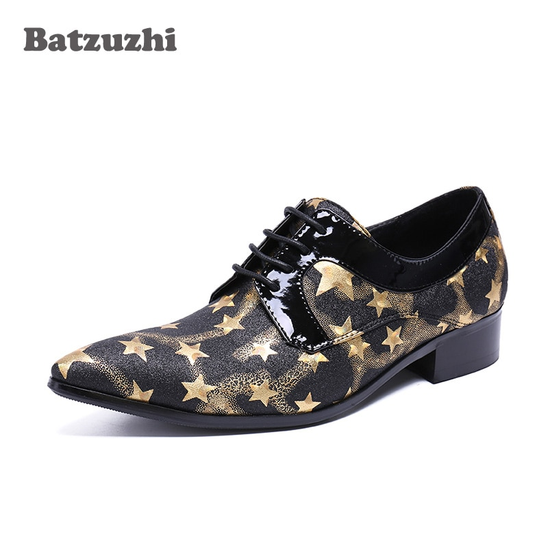 batzuzhi luxury handmade leather shoes men silver iron toe pointed formal dress shoes men oxfords party and wedding shoes us12 Leather Dress Shoes Oxfords Men 2020 Italian Handmade Men Shoes Pointed Toe Flats Glad Stars Party and Wedding Shoes Men, US6-12