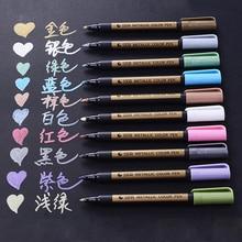 10 Colors Metallic Paint Art Marker Pen Creative DIY Glass Wood Photo Album Permanent Writing Highlighters Pens Stationery