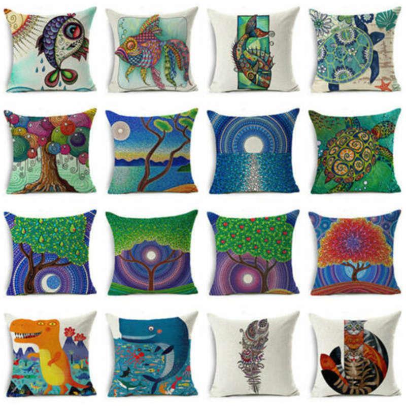 """18 """"de pintura al óleo de arte peces Vintage dinosaurio funda de cojín con diseño de gatos de algodón funda de almohada de lino casa funda de cojín de sofá decoración 45*45 cm"""