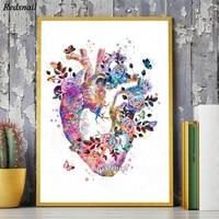 human heart anatomy diy diamond painting medicine student gift organs art watercolor embroidery doctors office wall decor yy2345