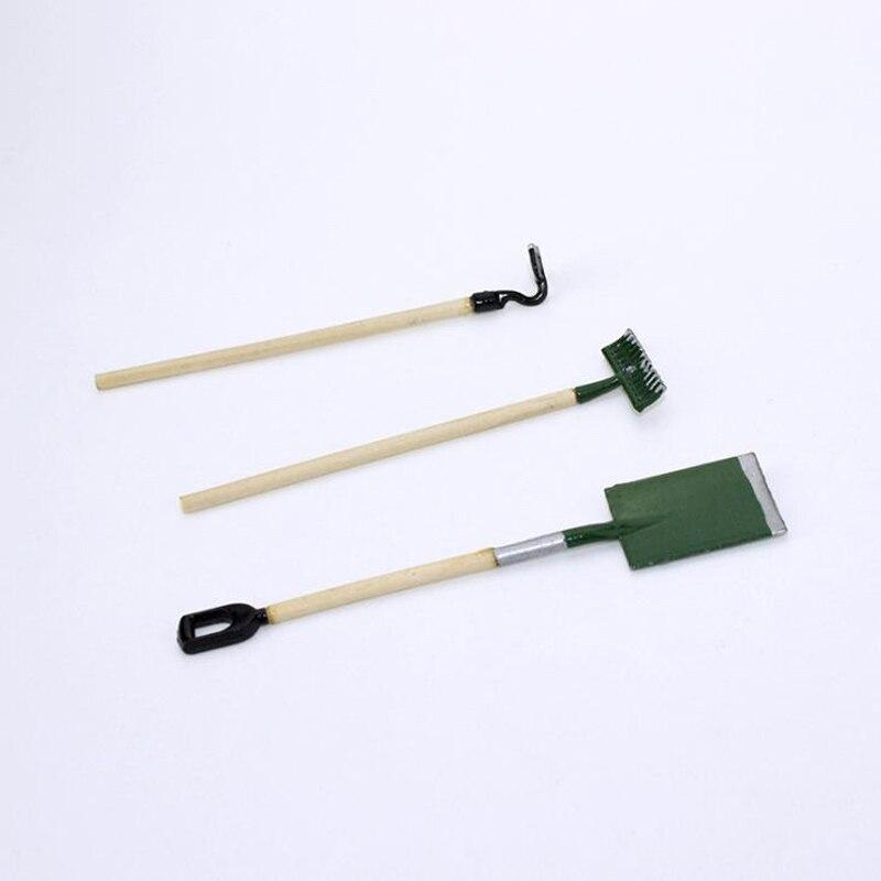 3 unids/set de Mini herramientas de jardinería adorable Pala/rastrillo/azadas miniaturas 112 escala casa de muñecas accesorios muebles miniatura Juguetes