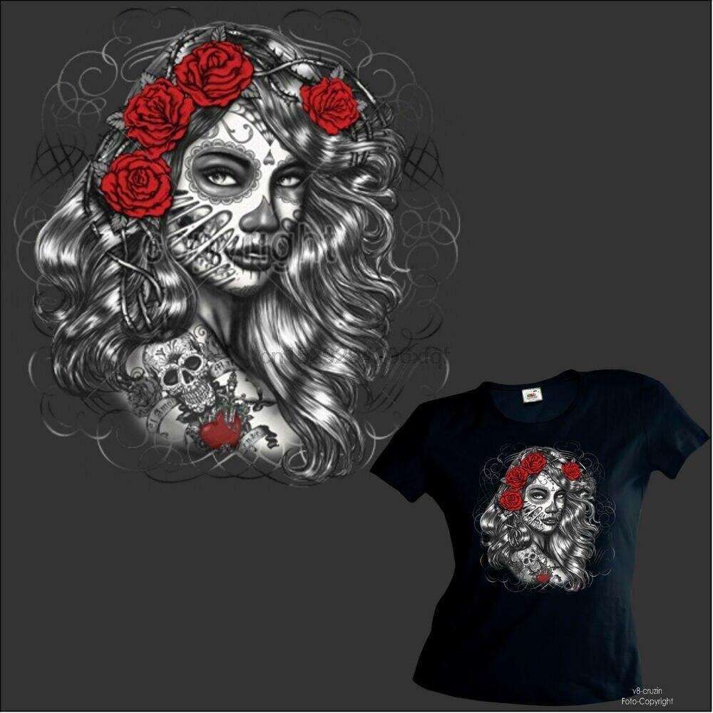 Camiseta para mujer chica camiseta tatuaje Flash Latino calavera Dia De Los hombres 1021