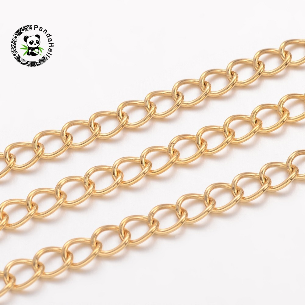 10m/Roll Fashion Rope Chain Necklace Vacuum Plating Stainless Steel Twisted Chains Curb Chains 4x3x0.6mm