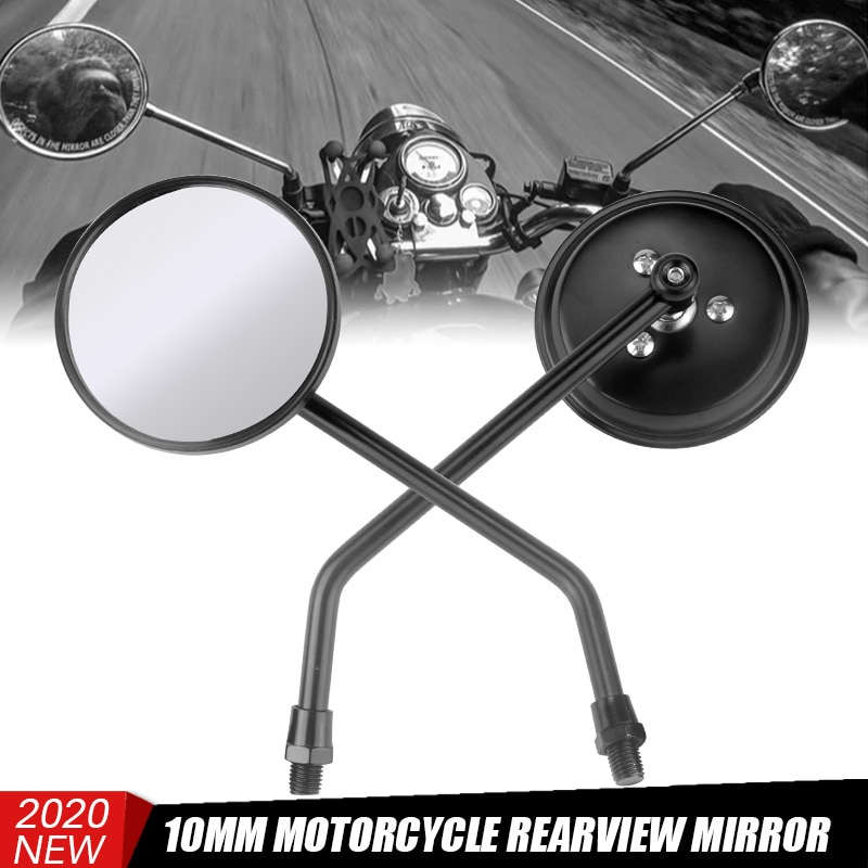 Espejos universales para moto rcycle, espejos retrovisores de 10mm en Cromo Negro redondo largo para Moto rbike, Moto rcycle