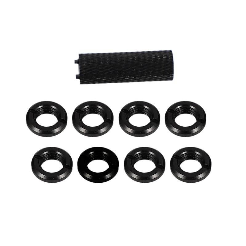8 pces liga de alumínio porca 1 pces para futaba jr walkera flysky controle remoto interruptor de engrenagem alternar peças preto