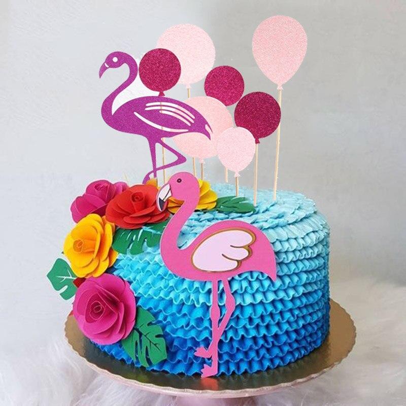 Decoración de verano para pastel de flamenco, decoración de fiesta de cumpleaños, Cupcake Topper Tropical Hawaiano, fiesta de boda, flamenco, suministros de Aloha