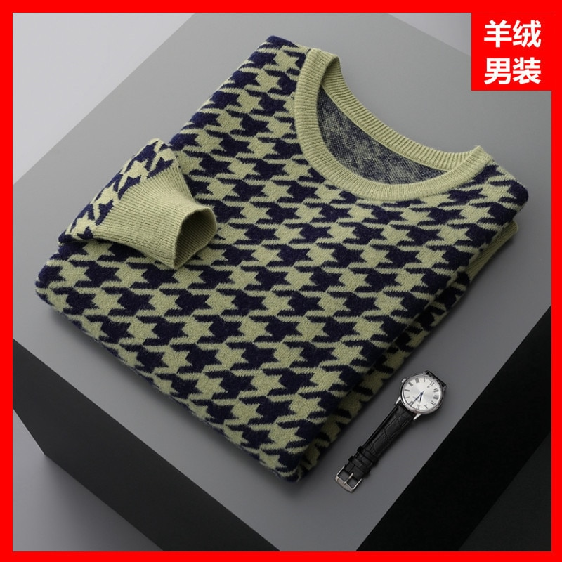 Winter fine wool round neck casual cashmere self-cultivation youth blue spot wool knitted sweater