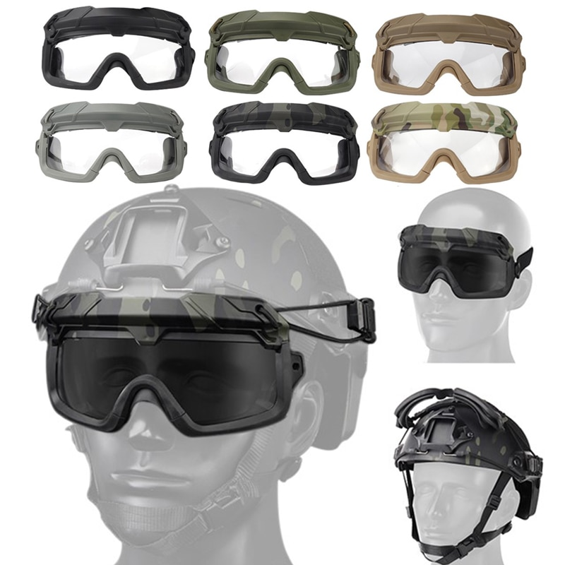 Tactical Airsoft Paintball Goggles Windproof Anti fog CS Wargame Protection Goggles Fits for Tactical Helmet airsoft paintball tactical helmet protective fast helmet abs tactical mask with goggles cs equipment