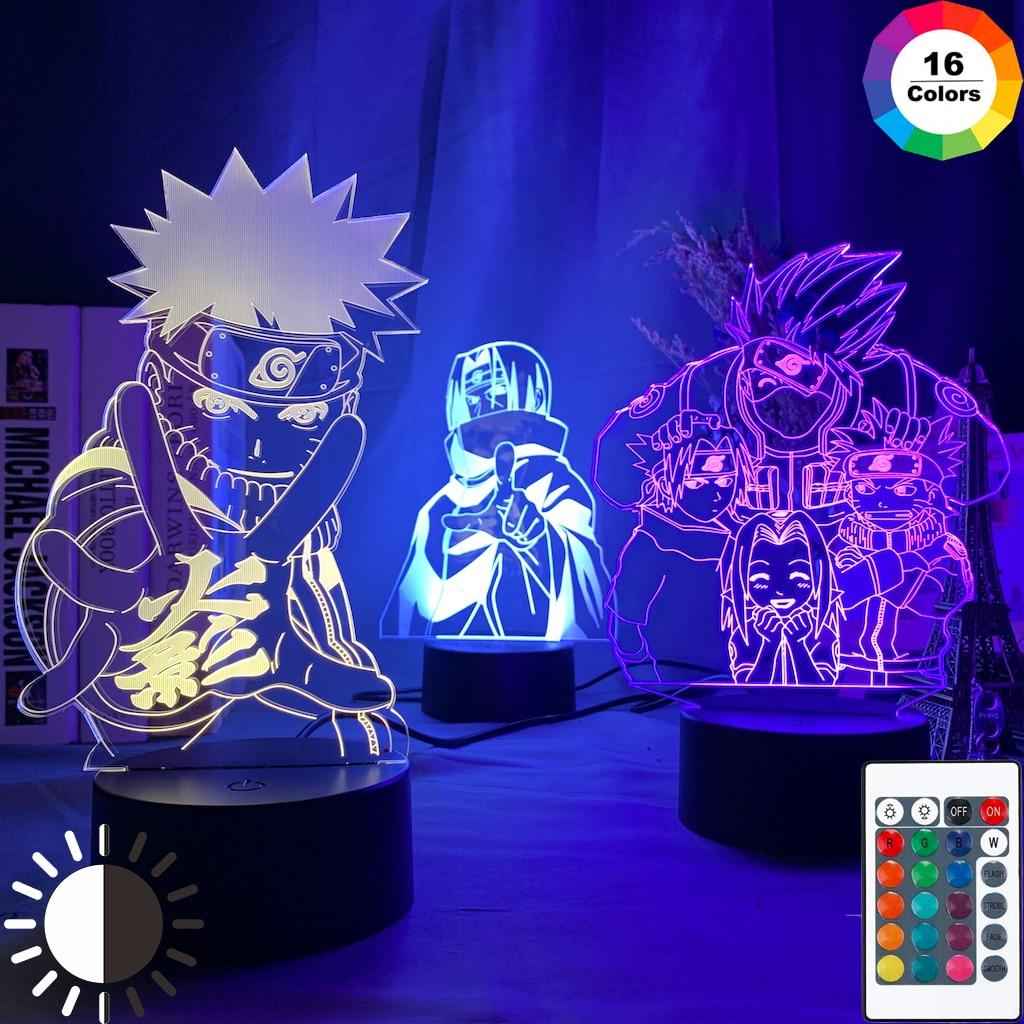 Anime naruto uzumaki led night light equipe 7 sasuke kakashi hatake crianças quarto nightlight itachi uchiha 3d lâmpada criança presente de natal