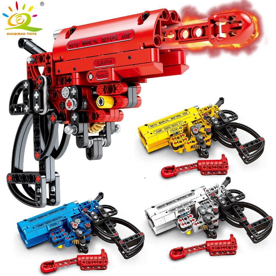 HUIQIBAO 4 вида цветов съемки сигнала игрушечный пистолет строительные блоки техника оружие DIY блоки, Детские кубики, развивающие игрушки для детей, подарок для мальчиков