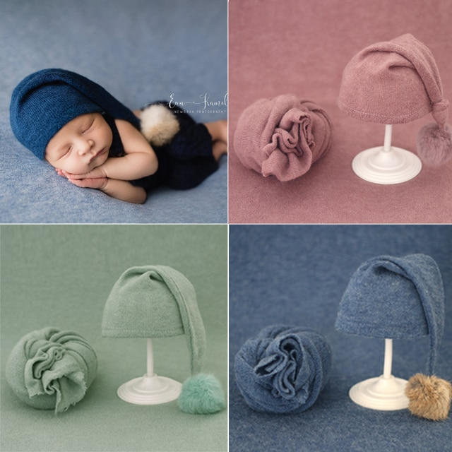2pcs Wrap Hat Sets Newbornn Photography Props Boys Girls Photography Swaddle Blanket Infant Baby Picture Shoot Props Accessories